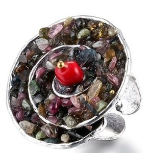 Natural Stone Hyperbole Statement Adjustable Ring